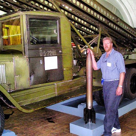 At the massive Russian Artillery Museum in St. Petersburg. This is an older Katyusha rocket launcher. Part of our Operation Barbarossa Tour in August 2013!