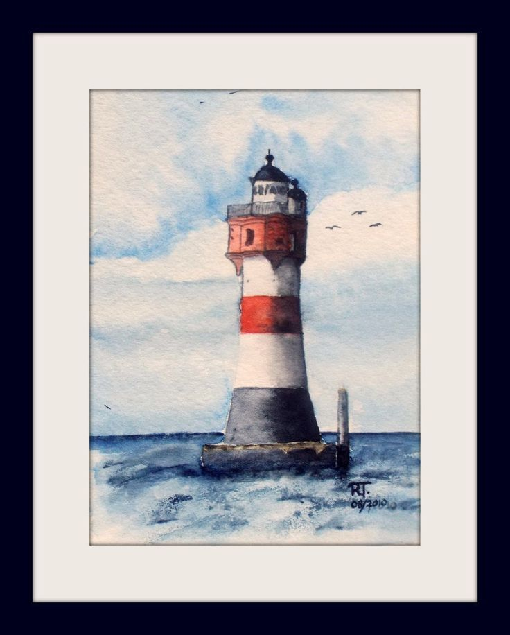 Original Painting Watercolour Lighthouse Red Sand Roter Sand