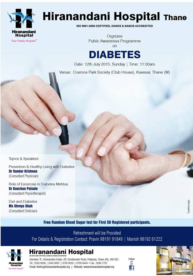 Free Random Blood Sugar Test For First 50 Registered Participants  Speakers : Prevention & Healthy Living With Diabetes Dr Sundar Krishnan (Consultant Physician)  Role Of Exercise In Diabetes Mellitus Dr Kanchan Palsule (Consultant Physiotherapist)   Diet & Diabetes Ms Sherya Shah (Consultant Dietician)