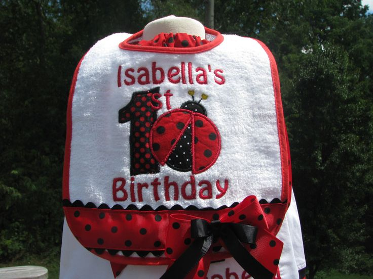 Ladybug bibs,red ladybug birthday bib, 1st birthday party, 2nd birthday party,smash cake bib, smash cake photo by PJQuilts on Etsy https://www.etsy.com/listing/120773557/ladybug-bibsred-ladybug-birthday-bib-1st
