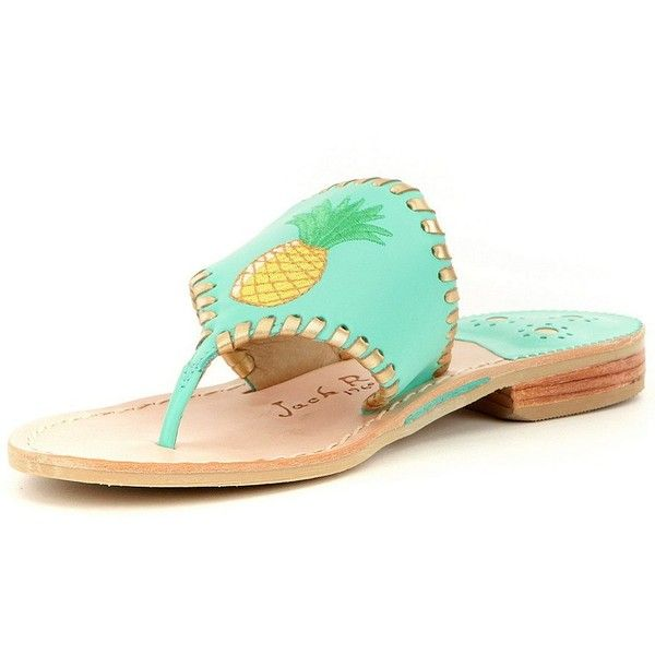 Jack Rogers Pineapple Leather Embroidered Thong Sandals ($104) ❤ liked on Polyvore featuring shoes, sandals, toe thongs, pineapple print shoes, leather shoes, toe thong sandals and flat thong sandals