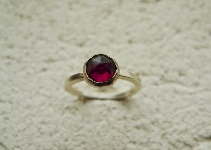 Rose Cut Garnet Lost & Found Stacking Ring - ready to ship size 7.5
