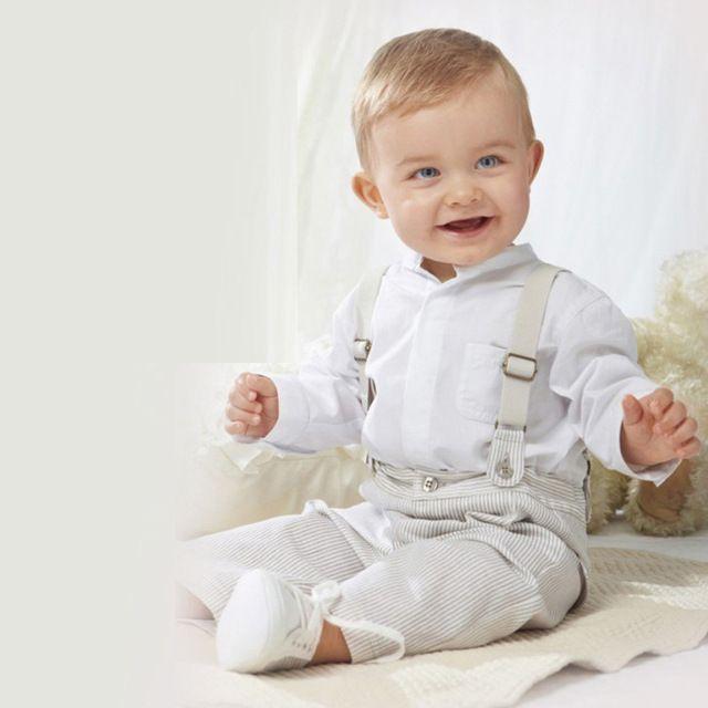 6M 24M Baby Boys Kids Gentleman Long Sleeve White Shirt Overalls Bib Pants Bodysuit Toddler