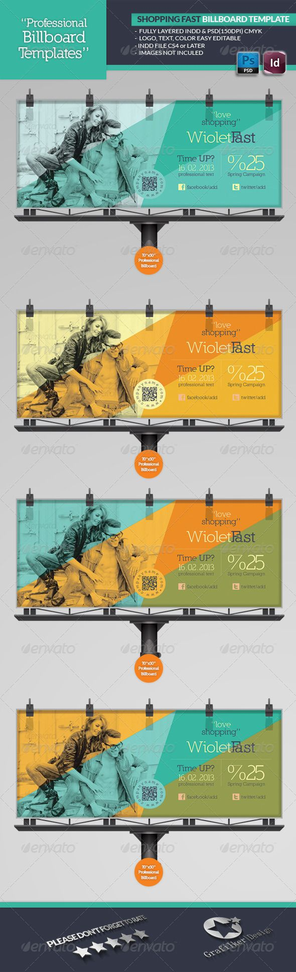 Shopping Fast Billboard Template - Signage Print Templates