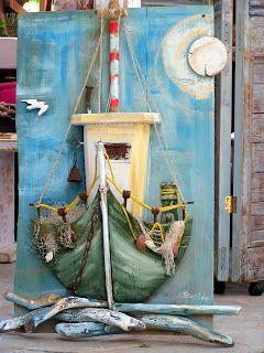 "seaside mykonos furniture: Πίνακας με παλιά ξύλα."" Καικι""."