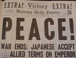 "Sixty-four years ago this was but one of the newspaper headlines as the world awoke to read about the end of World War II. Victory in Japan, ""V-J"" Day, August 15, 1945."