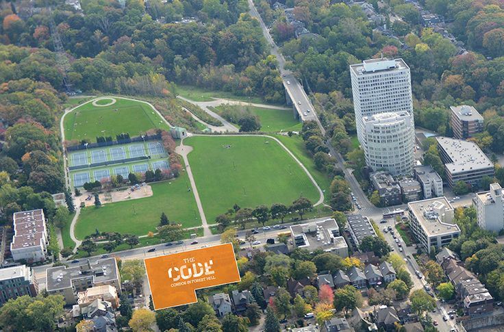 Aerial view of Sir Winston Churchill Park in Forest Hill -- across the street from The Code Condos.