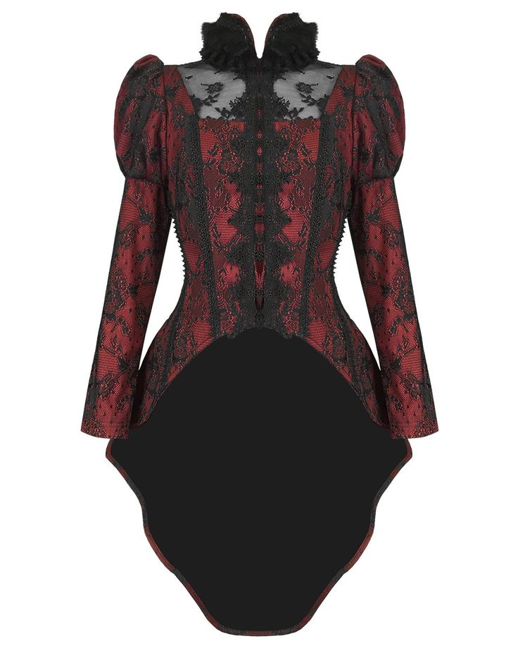 Punk Rave Womens Jacket Tailcoat Red Black Lace Goth Steampunk VTG Romantic