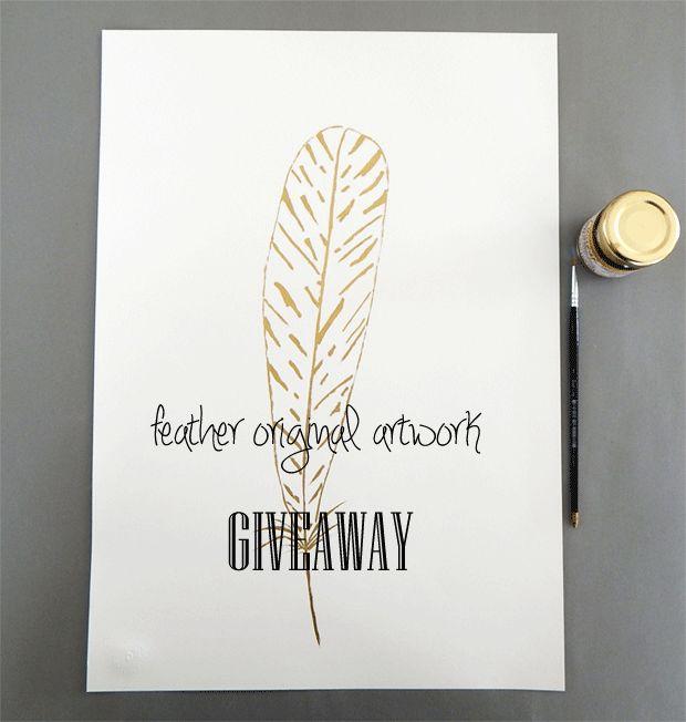 EtsyGiveaways: Original feather drawing: Ends 3/31/15