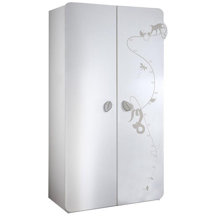 Armoire Bebe Jungle Armoire Bb 2 Portes Blanche Blanc Dcor Jungle Finition Locker Storage Tall Cabinet Storage Storage