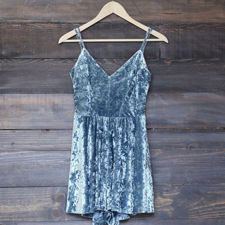 crushed velvet romper - dusty blue - shophearts - 1