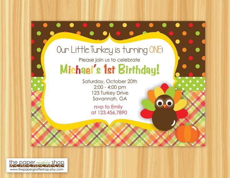 Little Turkey Birthday Invitation | Thanksgiving Birthday Invitation | Our…