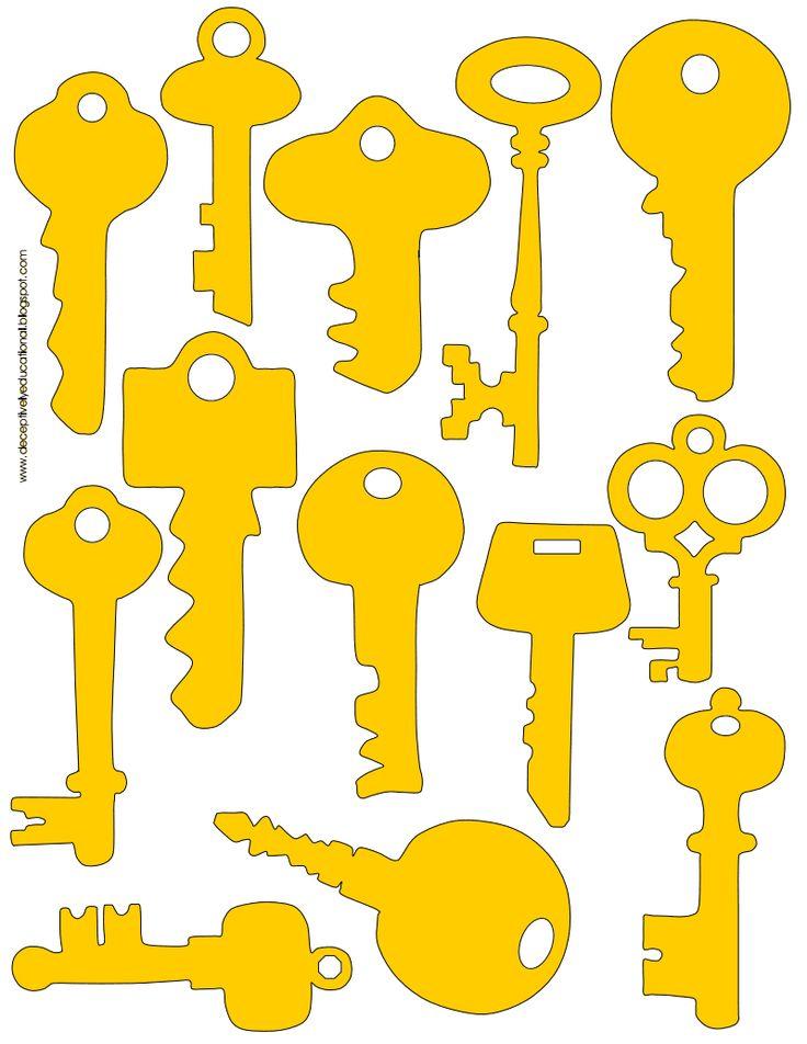 clés et leur silhouette à imprimer