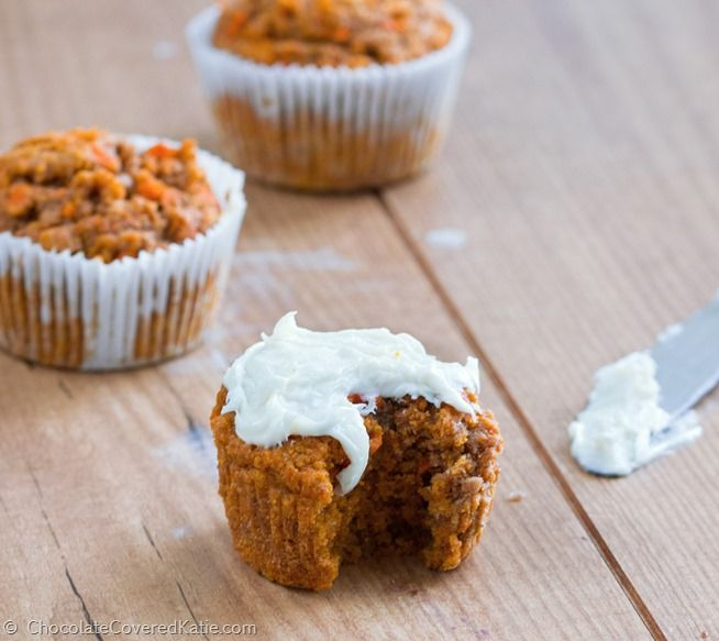Low-fat, high-fiber, soft & fluffy carrot cake cupcakes with a secretly healthy frosting and an astonishing 74% of your recommended Vitamin A in one serving! Recipe here: https://chocolatecoveredkatie.com/2015/04/01/healthy-carrot-cake-cupcakes/