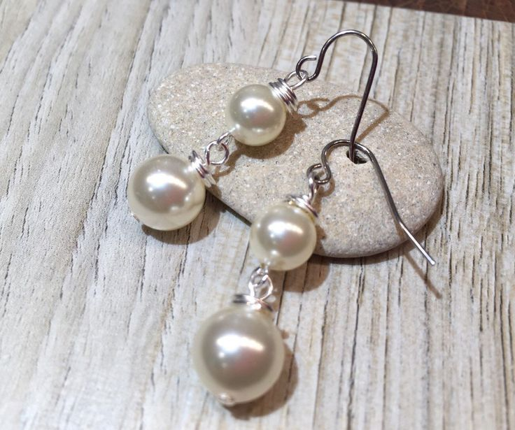 Earrings Pearls Swarovski Glass Crystal High Quality pretty traditional dangling lovely feminine day to evening wear by wandandwear on Etsy