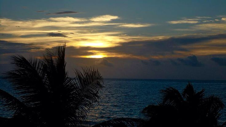 Sunset. Beautiful. Caribbean. Puerto Morelos, Mexico.