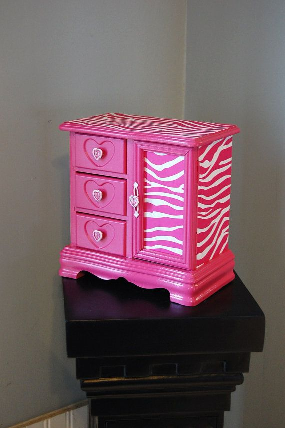 Hot Pink Zebra Jewelry Box Mothers Day Gift by TheVintageArtistry, $65.00