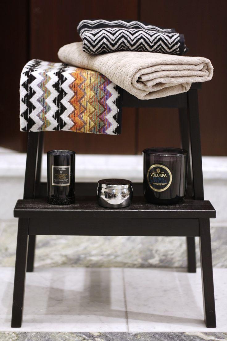 Håndklær fra Missoni Home og deilige duftlys fra Voluspa