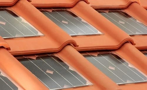 terracotta roof tiles with solar panel inserts