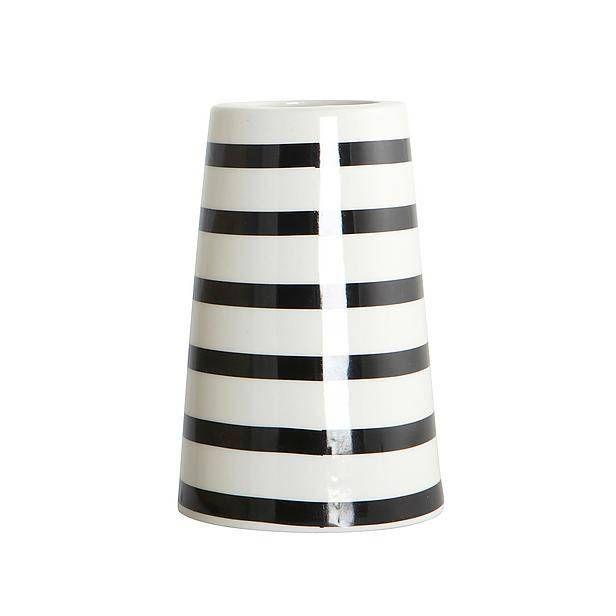 Housedoctor Vaas SAILOR porselein zwart wit stripes ø6-9,5xh15cm - wonenmetlef.nl