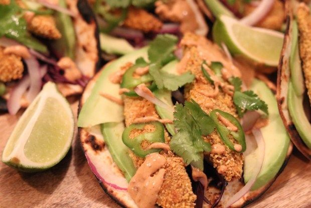Oven Baked Fish Tacos with Smoky Chipotle Sauce - girlheartfood.com