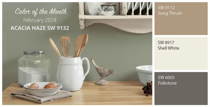 Paint Color Scheme Inspiration: Sherwin Williams Acacia Green and coordinating paint colors.