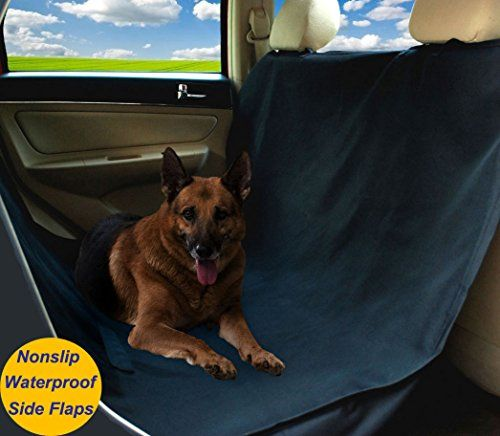 Warmland Waterproof Hammock Pet Car Seat Cover Nonslip Slits for Pet Seat Belt Dog Seat Cover with Side Flaps to Protect Entire Seat (Black Large)