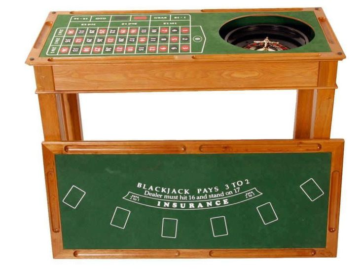 4 In 1 Wooden Casino Bar Game Table Roulette Craps Blackjack Poker Gaming
