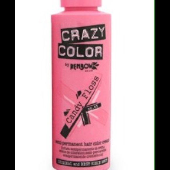 Crazy Color candy floss pink hair color dye One brand new sealed bottle of Crazy Color 'Candy Floss' light pastel pink hair dye. Crazy Color Makeup