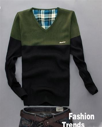 Fashion Cotton Blends Two Tone Pullover V Neck Long Sleeve Winter Warm Men Sweater