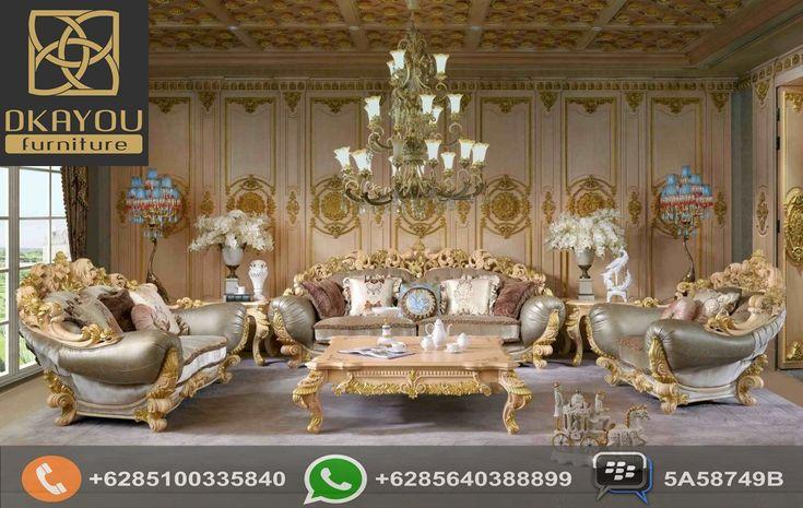 Set Sofa Ruang Tamu Mewah Ukir Mewah Glamour Waldofe