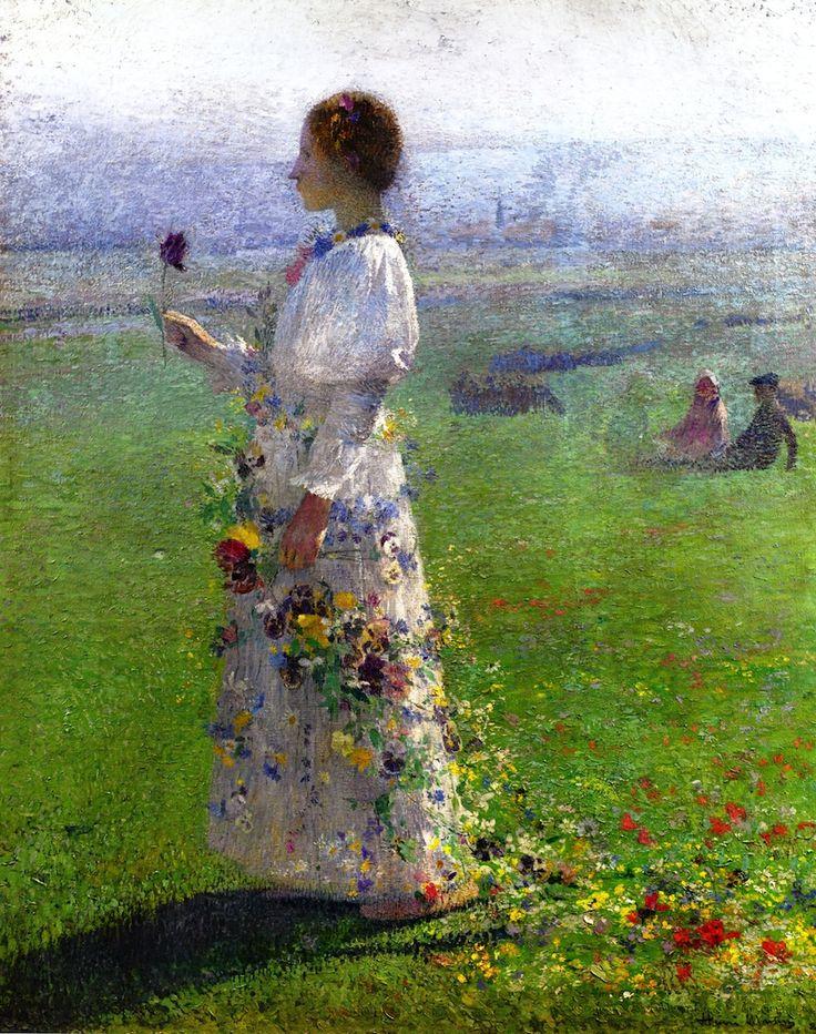 The Athenaeum - Beautiful Girl Walking through the Field, a Flower in His Hand (Henri Martin - )