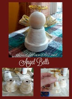 Easily make angel bells with little clay pots! A cute Christmas decoration and make a great gift.