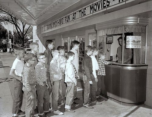 In line for movie tickets during the '50's