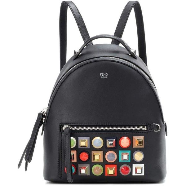 Fendi Mini Embellished Leather Backpack (11722895 PYG) ❤ liked on Polyvore featuring bags, backpacks, black, real leather backpack, fendi backpack, leather knapsack, mini backpacks and decorating bags