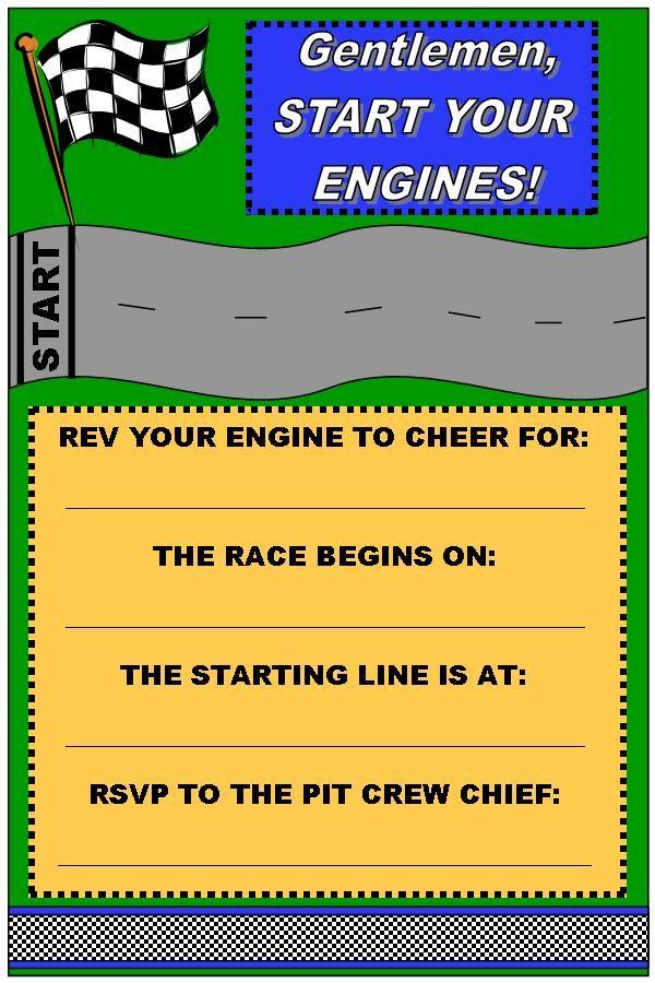 Race Car Birthday Party Invitation Printable Free | Race Car Party ...