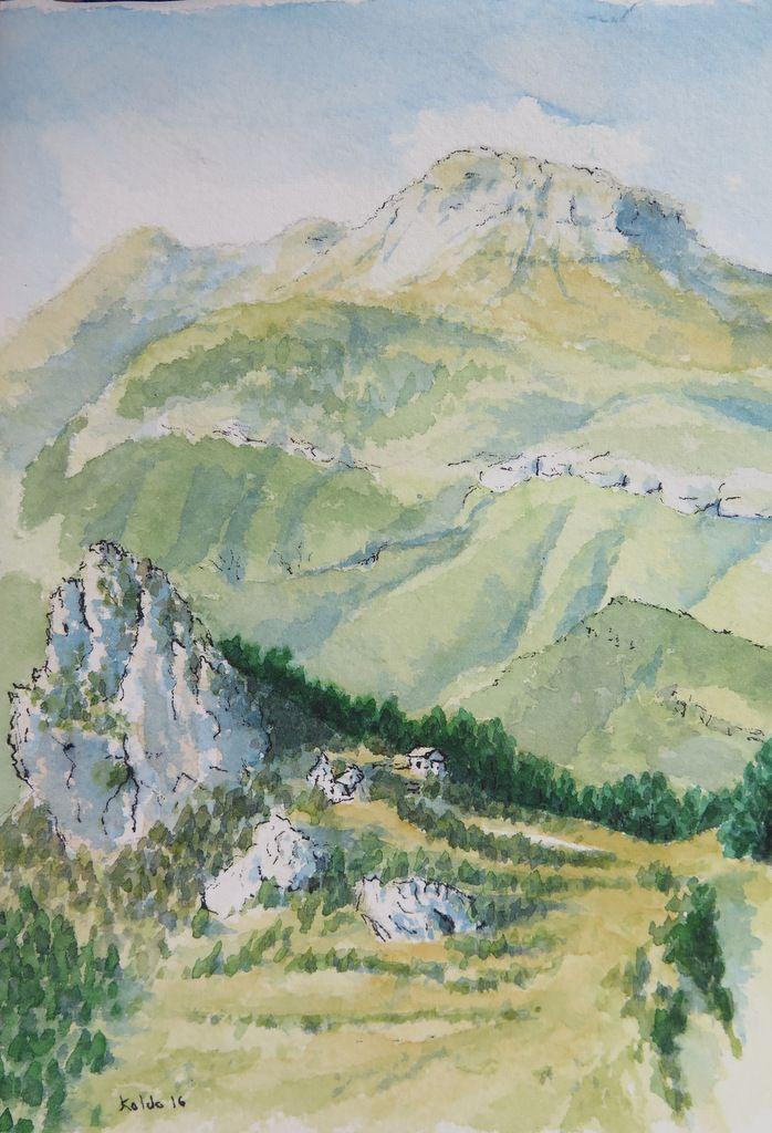 Pirineo de Huesca. Puntón d'as Bruxas y Ermita de San Chuan y Pablo. Tella. Acuarela 13x18