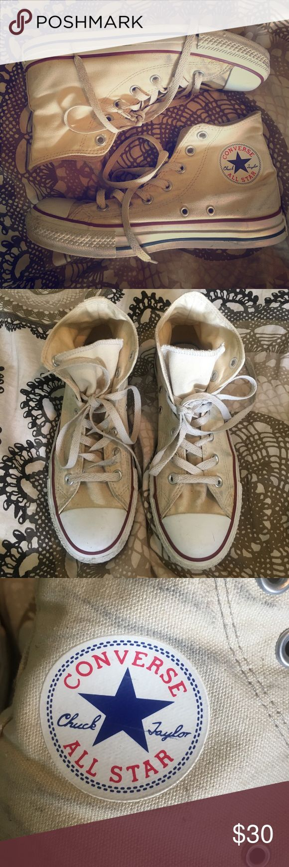 Off white Converse high tops Off white high top converse shoes. Lightly worn, a few scuffs. Can be easily cleaned. Cute hipster sporty style. Blue and red accents. Converse Shoes Sneakers