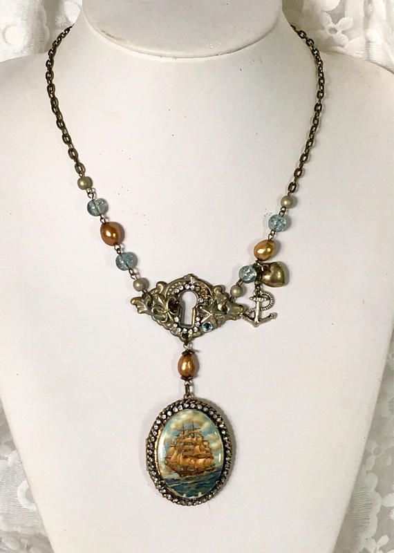 Passage to Versailles  Vintage Assemblage tall ship Necklace