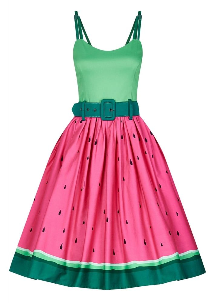 Collectif Jade Watermelon Swing Dress | Attitude Clothing