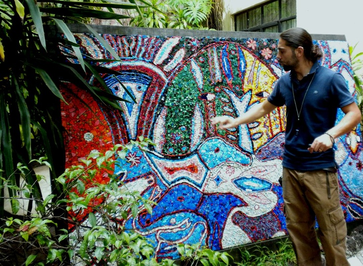 "Modern smalti mosaic from first ""Mosaics in Mexico"" workshop.  Now it resides in courtyard of my former apartment in Centro Cuernavaca."
