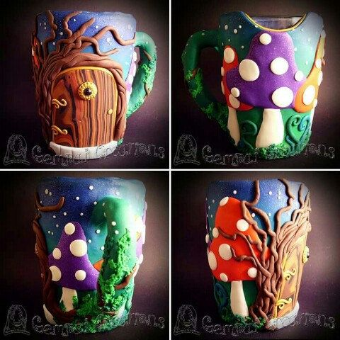 Iv made this gorgeous enchanted mug with a glass interior and drinking lip and polymer clay with magical glow in the dark bits. Get yourself or loved one something special today :D
