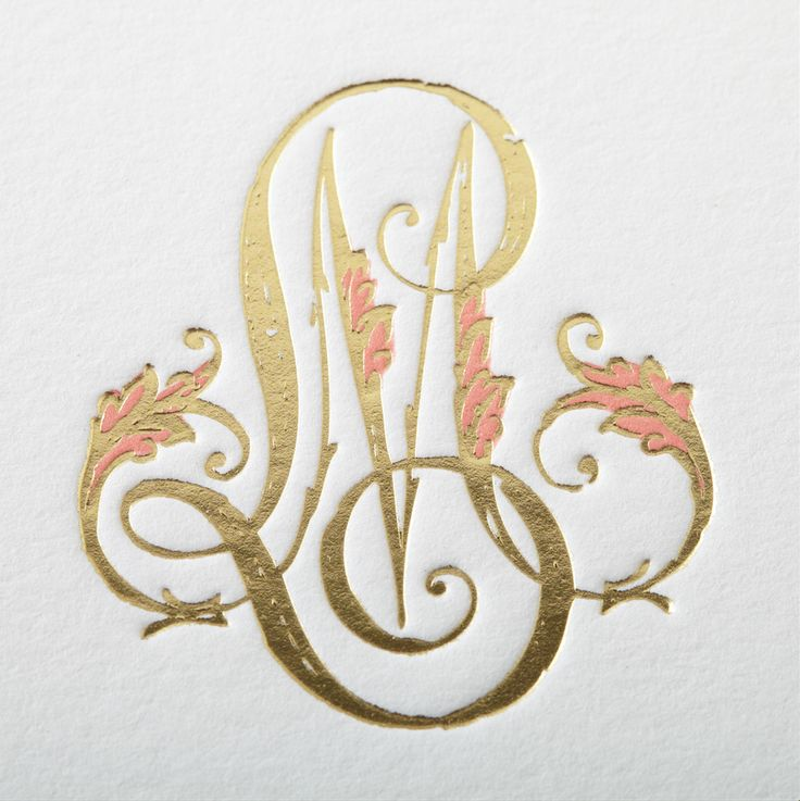 Gold foil-stamping with a hint of coral letterpress for Lindsey and Michael's monogram! They used the custom motif atop their save the date, wedding invitation, and reception menu. #MonogramMonday