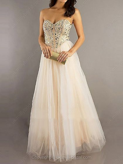 A-line Sweetheart Tulle Floor-length Rhinestone Prom Dresses -USD$169.48