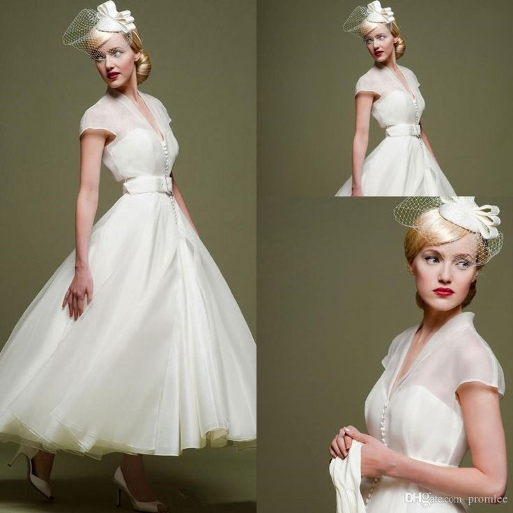 Fancy  Spring Vintage Wedding Dress Little Short Beach Cheap Covered Button V Neck Tulle Short Chiffon Wedding Gowns