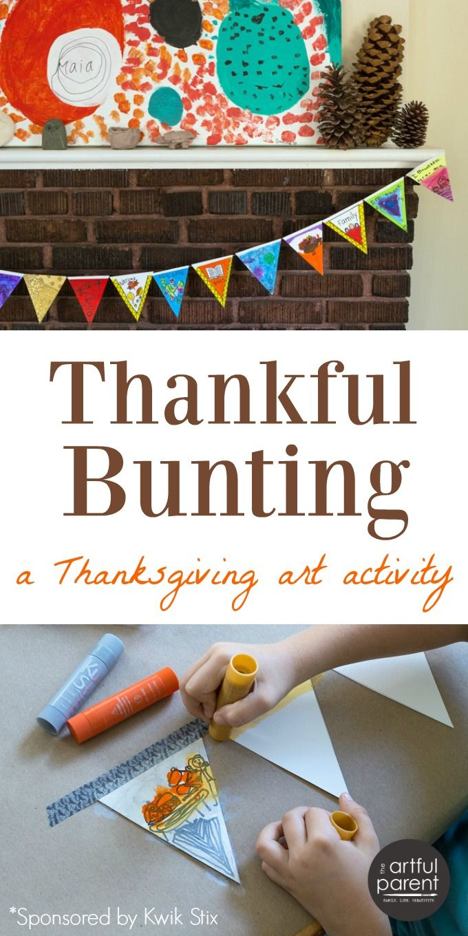 How to make a thankful bunting. This Thanksgiving art activity brings the family together to celebrate the true meaning of the holiday.
