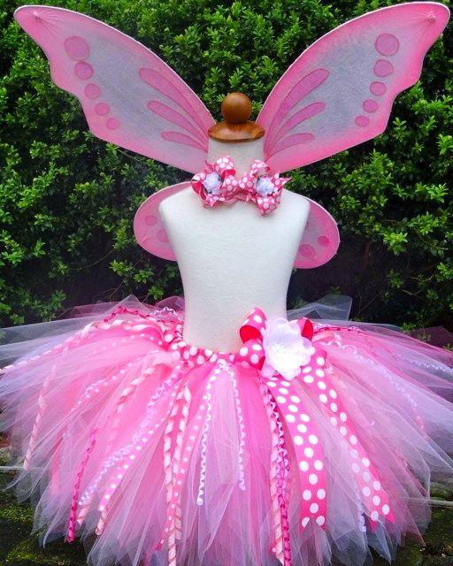 Enchanted Pink Fairy Tutu with Curly Ribbons and Wings-