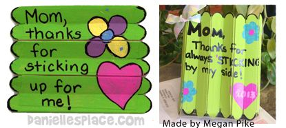 Mother's Day Craft - Foldiing Craft Stick Mother's Day Craft for Kids from www.daniellesplace.com