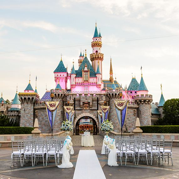 Tie the knot like royalty at the ultra-exclusive Sleeping Beauty Castle Forecourt