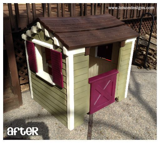 Final Little Tikes playhouse makeover project - see more at http://lolsondesigns.com/a-different-kind-of-design-project/
